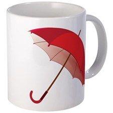 Cute Red Umbrella Mugs Red Umbrella, Mug Designs, Drinkware, Vivid Colors, Coffee Mugs, Ceramics, Cute, How To Make, Gifts