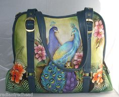 Authentic Anuschka Passionate Peacocks Wide Entry Large Tote New Print | eBay