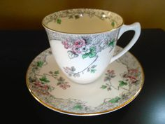 Early Shelley Strand Shaped Motif Cup and Saucer