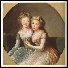 Elizabeth Vigee Lebrun, The Grandaughters of Catherine the Great, Russia 1796 - Elana & Alexandra Pavlovna.