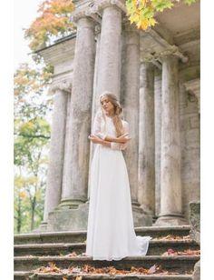 Schlichte Modische Günstige Brautkleider aus Chiffon mit Applikation