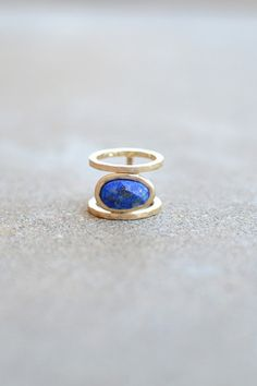 Natural Stone Ring Gold Blue