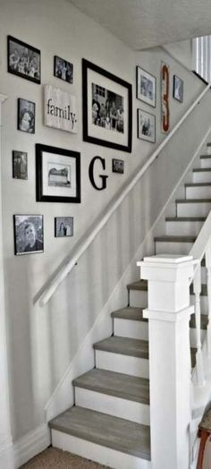 Few Breathtaking DIY Stairs Projects - In most of the houses stairs are just being used from taking you from one point to another. If your stairs do the same purpose only then you are missi. diy Few Breathtaking DIY Stairs Projects - Diana Phoneix Decorating Stairway Walls, Staircase Wall Decor, Stair Art, Stair Walls, Stair Decor, Stair Landing Decor, Entryway Stairs, Ideas For Stairway Walls, Staircase Ideas