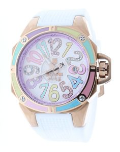 Technosport TS-200-S38 Women's Watch Swarovski Multicolor Colorful Dial Markers White Silicone Strap