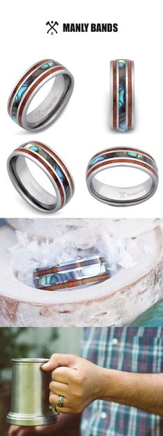 Stainless Steel 2 Color Light Peach Enameled Comfort Fit Flat Band Ring