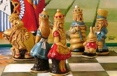 Antique Alice In Wonderland Chess Pieces