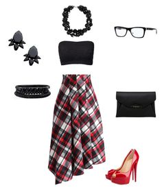 """""""Plaid!!"""" by keishaanngraham ❤ liked on Polyvore featuring Chicwish, Christian Louboutin, Spring Street, Givenchy, Ray-Ban, Simone Rocha and Persy"""
