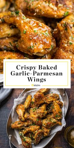Baked Garlic-Parmesan Wings Are So Crisp, You'd Think They Were Fried - - These ultra-crispy wings are blanketed with a double dose of punchy garlic, plenty of salty Parm, and some melted butter for good measure. Parmesan Chicken Wings, Dry Rub Chicken Wings, Crispy Baked Chicken Wings, Baked Garlic Parmesan Wings Recipe, Fried Chicken, Grilled Chicken Wings, Chicken Tenders, Appetizer Recipes, Dinner Recipes