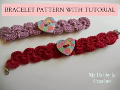 Crochet paisley bracelet with heart wooden button