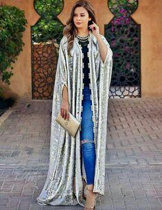 open abaya-Fashion guide for spring summer outfits – Just Trendy Girls Abaya Fashion, Kimono Fashion, Modest Fashion, Fashion Dresses, Mode Kimono, Mode Abaya, Abaya Designs, Moroccan Dress, Poncho