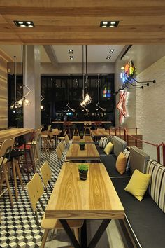lantavos projects renovates fast food restaurant in athens Fast Food Restaurant, Cafe Restaurant, Tile Projects, Handmade Tiles, Restaurant Interior Design, Cafe Design, Future House, Interior Architecture, Table