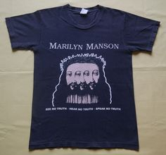 vintage 90s MARILYN MANSON beLIEve SEE HEAR SPEAK NO TRUTH t-shirt RARE #GraphicTee