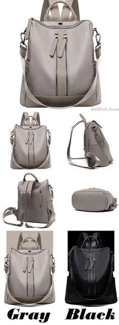 Elegant Waterproof Double Zipper PU Multi-function Handbag Large School Backpack for big sale! #large #school #backpack #Bag #student #college #fashion