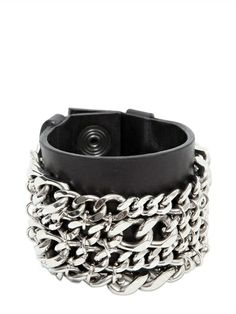 BALMAIN - METAL CHAINS & LEATHER BRACELET - LUISAVIAROMA - LUXURY SHOPPING WORLDWIDE SHIPPING - FLORENCE
