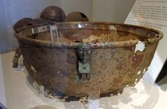 ENGLISH: Bronze kettle / pot from the Viking age, with figurines, found in Myklebust, Eid, Sogn og Fjordane regional municipality, Western Norway. From an exhibition in Bergen museum.