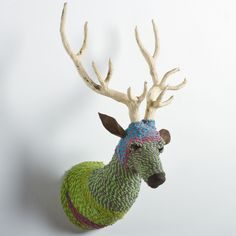 {Rope Wrapped Deer Mount} by CG Spark; crafty & colourful faux taxidermy!