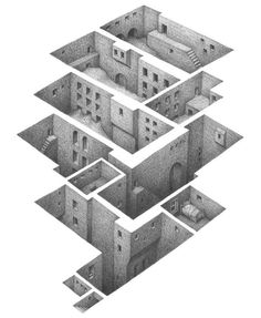 Illusion: It is fascinating how Mathew Borrett draws underground cities using positive and negative spaces. His illustrations are intricate, and seem like they may be inspired by M.C. Escher.     http://illusion.scene360.com/art/34300/a-secret-world/