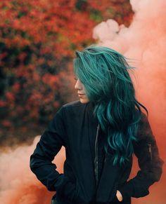 I want my hair to come out this color and not green Alternative Hair, Coloured Hair, Dye My Hair, Crazy Hair, Rainbow Hair, Green Hair, Teal Green, Grunge Hair, Hair Dos
