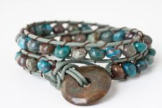 Rainbow Calsilica & Turquoise Closure Woven Boho Wrap Bracelet