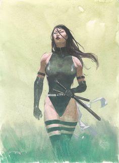 Psylocke by Esad Ribic Comic Art Hq Marvel, Marvel Comic Universe, Marvel Comics Art, Bd Comics, Comics Universe, Comics Girls, Marvel Heroes, Marvel Characters, Comic Book Artists
