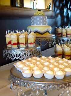 Grey and Yellow Wedding Cake and Buffet