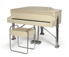 An Art Deco Baby Grand Piano with Bench