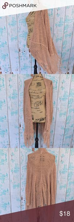Chico's artesian fringe Sloane knit cardigan Chico's artesian fringe Sloane knit cardigan. Chico's size 2 conversation is a size medium but can also fit a large. Blush color. The knitting at left shoulder loosened up a bit as you can see up close in last photo. Chico's Sweaters Cardigans