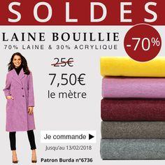 ** 7 Jours - 1 Prix - 1 Produit *** De jolies couleurs pour coudre un beau Manteau en Laine Bouillie à 7,50€ le mètre au lieu de 25€ A vous de choisir votre couleur ! Cliquez ici : http://www.tissus-de-reve.fr/
