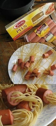 funny and cute idea spaghetti and hot dogs. I would add macaroni and cheese sauce to this!