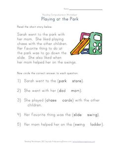 Complete the Sentences - Going to the Park Reading Comprehension Worksheet