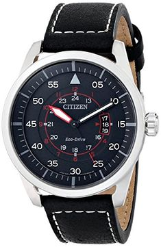 """Citizen Men's AW1361-01E """"Sport"""" Stainless Steel Watch with Black Leather Band"""