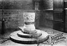 Old photo of Ancient  Font in St Mary's Church 1912, St Marychurch