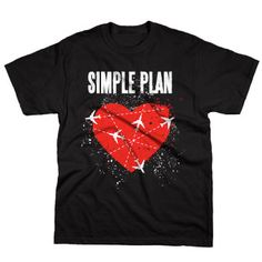 Simple Plan - Jet Lag Heart on Black - T-shirts - Official Merch - Powered by Merch Direct