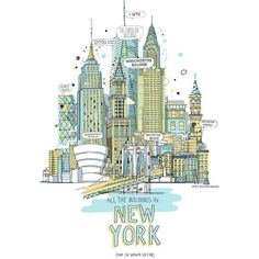 Magma New York Landmarks Print ($52) ❤ liked on Polyvore featuring home, home decor, wall art, backgrounds, fillers, art, drawings, pictures, text and quotes