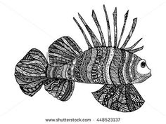 Vector hand drawn sea fish. Black and white zentangle art. Ethnic patterned illustration for antistress coloring book, tattoo, poster, print, t-shirt.