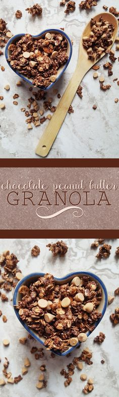 {Healthy, Low Calorie, Vegan} Have a little bit of dessert for breakfast with this chocolate peanut butter granola-- a quick and easy way to get your day off to a delicious start!