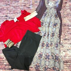 {Dress $28|| Leggings $7|| bracelets $5 each} *PLUS items picture! XL-3XL Comment below with PayPal to purchase and ship or comment for 24 hour hold #repurposeboutique#shoprepurpose#boutiquelove#style#trendy#musthaves#obsessed#fashion#spring#curvy#plus