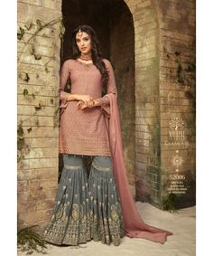 Embroidered Georgette Pakistani Suit in Old Rose Latest Wedding Suits, Wedding Dresses Men Indian, Indian Dresses, Indian Outfits, Wedding Outfits, Wedding Wear, Pakistani Fashion Party Wear, Pakistani Dress Design, Pakistani Dresses