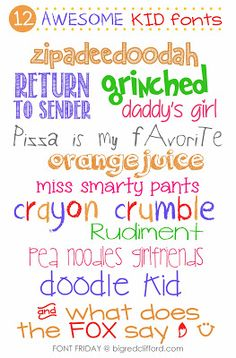 12 AWESOME KID fonts    tjn