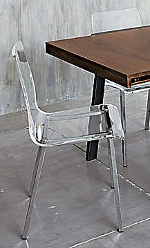 Acrylic furniture is back in style big time! See- thru furnishings are wonderful space savers. Two or three of these chairs would go perfectly with the stainless table featured on this page in a small kitchen. Stainless Table, Acrylic Furniture, Big Time, Chairs, Space, Kitchen, Room, Design, Home Decor