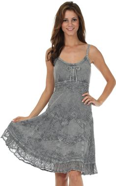 Stonewashed Rayon Embroidered Adjustable Spaghetti Straps Mid Length Dress Gray
