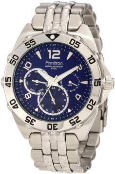 Armitron Mens 204664BLSV Stainless Steel Sport Watch ** Read more  at the image link.