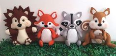 Bichinhos da floresta para decoração | Ateliê Dona Luluzinha | Elo7 Woodland Critters, Woodland Baby, Woodland Animals, Fleece Projects, Lumberjack Party, Baby Boy Or Girl, Felt Toys, Animal Party, Baby Shower