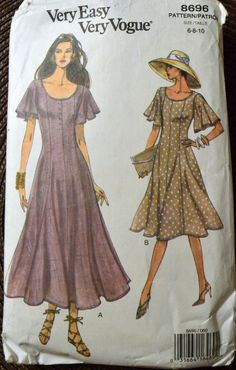 Sewing Pattern Vogue 8696 Misses' Dress Size 6-10  Bust 29-32 Inches Complete by GoofingOffSewing on Etsy