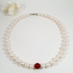 Freshwater Pearl Necklace with Agate Bead, Elegant Necklace, Mother's Day Gift, Bridal Necklace, Bridesmaid Necklace, Wedding Jewelry by JiaojiaosPearls on Etsy