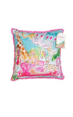 Lilly Pulitzer indoor/outdoor pillow in Zoo Party 5x5 print