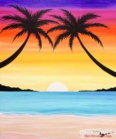 Palms By The Beach - paint and art Beach Canvas Paintings, Easy Canvas Painting, Cute Paintings, Simple Acrylic Paintings, Diy Painting, Beach Sunset Painting, Sunset Canvas, Sunset Beach, Oil Pastel Art