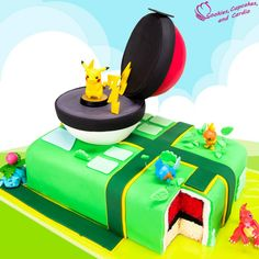 Pokemon Go Cake! Pikachu cake with a surprise pokeball cake inside! Pokemon Go Cake! Pikachu cake with a surprise pokeball cake inside! Cupcakes Pokemon, Pokemon Torte, Pokemon Go Cakes, Pokemon Birthday Cake, Birthday Fun, Birthday Cakes, Birthday Snacks, Birthday Ideas, Pokemon Go Tricks