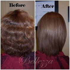Before & After pictures of keratin complex treatment results