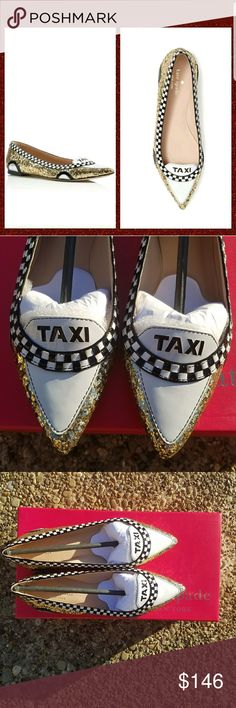 Kate Spade New York Go Glitter Taxi Flats Size 5 - Patent leather , glitter covered leather upper - Leather lining - Pointed toe -NIB, MSRP $278 kate spade Shoes Flats & Loafers